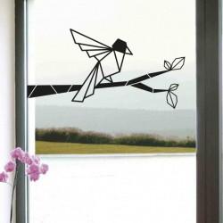 stickers oiseau branche origami