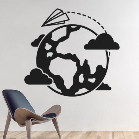 sticker mural voyage tour du monde