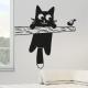 Sticker mural chat perché arbre oiseau déco