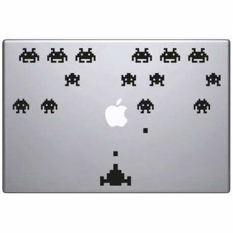 sticker macbook space invaders jeu video