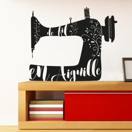 sticker mural de fil en aiguille couture machine a coudre