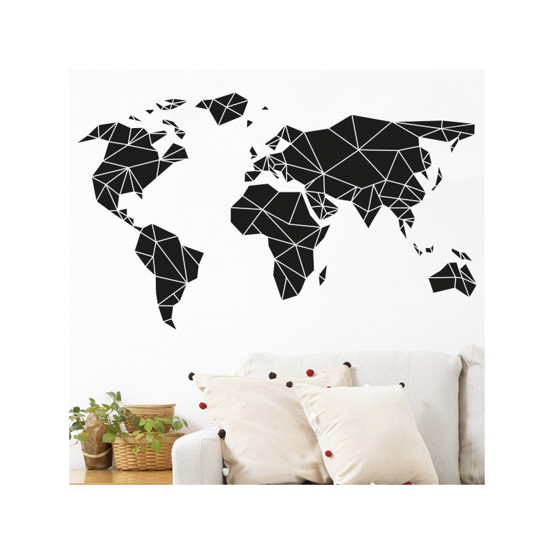 Stickers mappemonde optimistick - Carte du monde deco ...