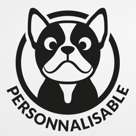 sticker chien Bouledogue français personnalisable a bord bouli