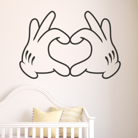 sticker mural disney mickey mains love coeur doigts