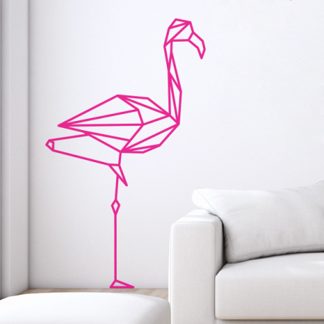 stickers mural flamant rose decoration flamingo origami geometrique