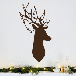 sticker mural decoration cerf noel bois