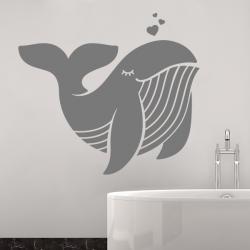 sticker mural enfant salle de bain bebe baleine mignon cute