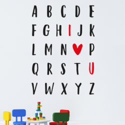 "sticker enfant Alphabet abecedaire ""I love U"""