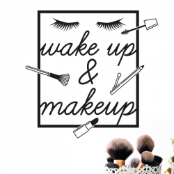 sticker mural deco beauté fille salle de bain maquillage wake up makeup