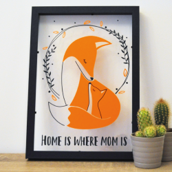 Cadre deco Maman bebe renard home is where mom is