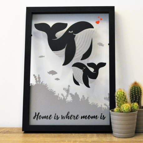 cadre deco vitre sticker baleine bebe maman home is where mom is
