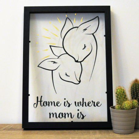 Cadre deco vitre sticker maman bebe biche home is where mom is