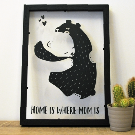 cadre deco sticker calin ours home is where mom is
