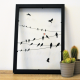 cadre minimaliste deco murale sticker vitre oiseaux fil amour coeur