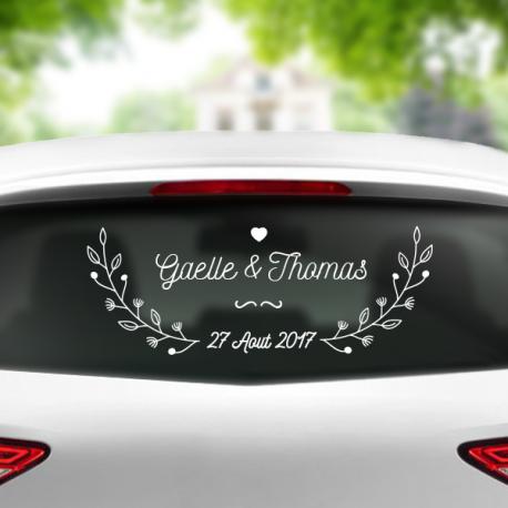 sticker voiture personnalisable mariage fleurs véhicule maries