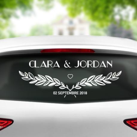 sticker voiture mariage couple feuille personnalisable mariés prénoms date
