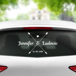 sticker mariage voiture personnalisable flèche couple amour prénoms