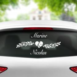sticker mariage voiture couple coeur amour personnalisable prénoms