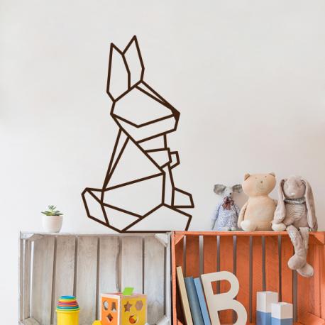 sticker lapin mur origami géométrique chambre enfant deco bebe