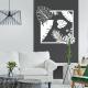 sticker mur décoration tendance exotique Feuilles tropicales - Carré