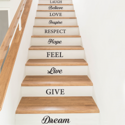 stickers escaliers mots anglais decoration marches dream hope believe