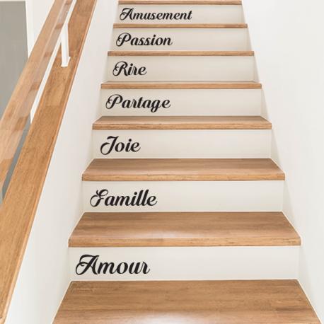 stickers marches escaliers decoration contremarche mots personnalisés sur mesure