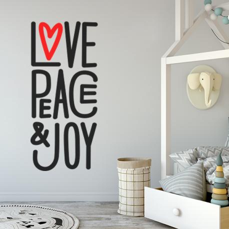 Stickers deco Love Peace & Joy texte