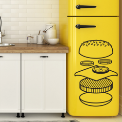 sticker deco cuisine hamburger fast food burger